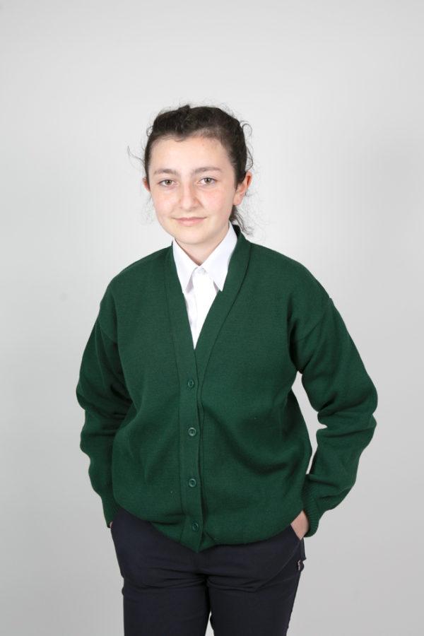 Primary v neck Cardigan – BOTTLE GREEN