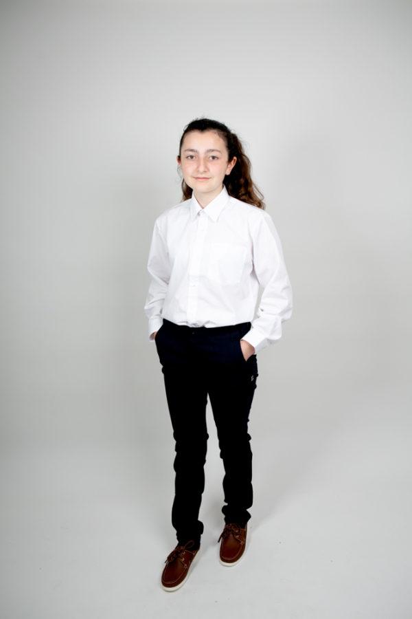 Deerpark School Long-Sleeve Shirt in White